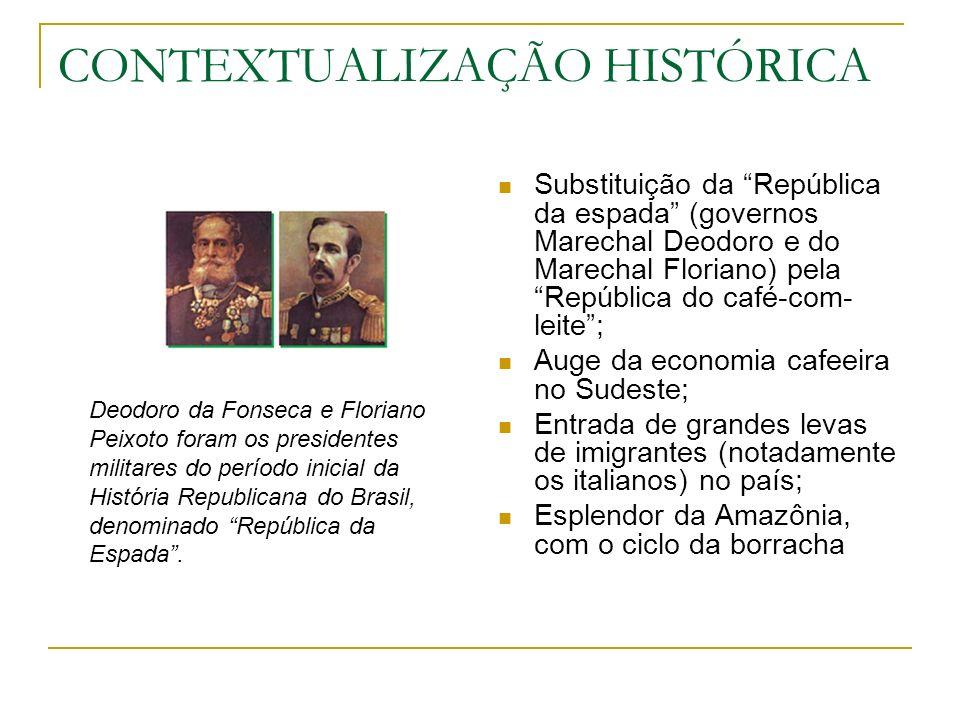 CONTEXTUALIZAÇÃO HISTÓRICA Substituição da República da espada (governos Marechal Deodoro e do Marechal Floriano) pela República do café-com- leite; A