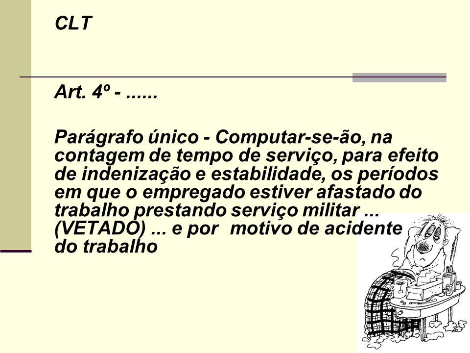 CLT Art. 4º -...... Parágrafo único - Computar-se-ão, na contagem de tempo de serviço, para efeito de indenização e estabilidade, os períodos em que o
