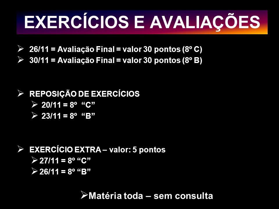 EXERCÍCIOS E AVALIAÇÕES 26/11 = Avaliação Final = valor 30 pontos (8º C) 30/11 = Avaliação Final = valor 30 pontos (8º B) REPOSIÇÃO DE EXERCÍCIOS 20/1