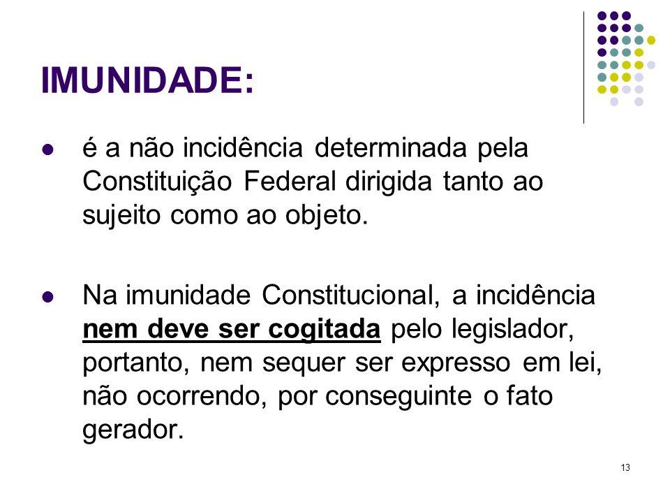 13 é a não incidência determinada pela Constituição Federal dirigida tanto ao sujeito como ao objeto. Na imunidade Constitucional, a incidência nem de