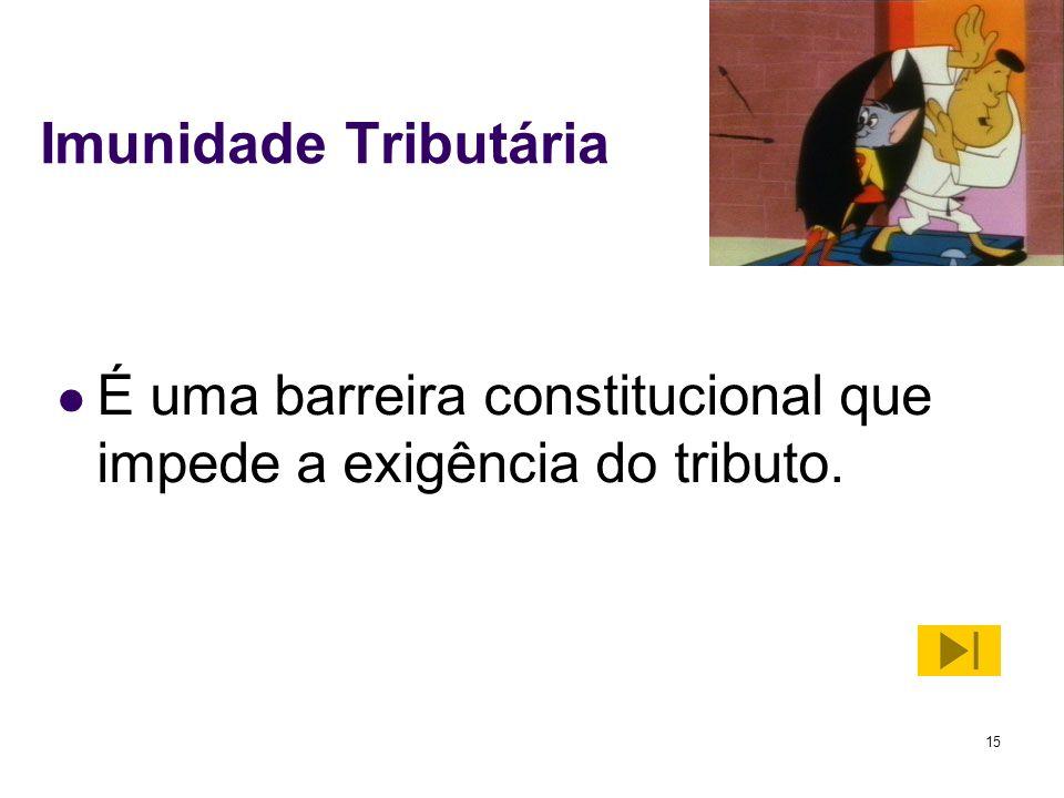 15 Imunidade Tributária É uma barreira constitucional que impede a exigência do tributo.