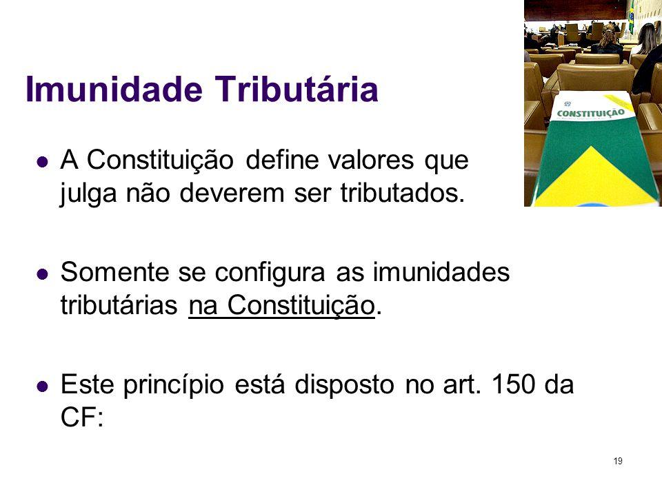 19 Imunidade Tributária A Constituição define valores que julga não deverem ser tributados. Somente se configura as imunidades tributárias na Constitu