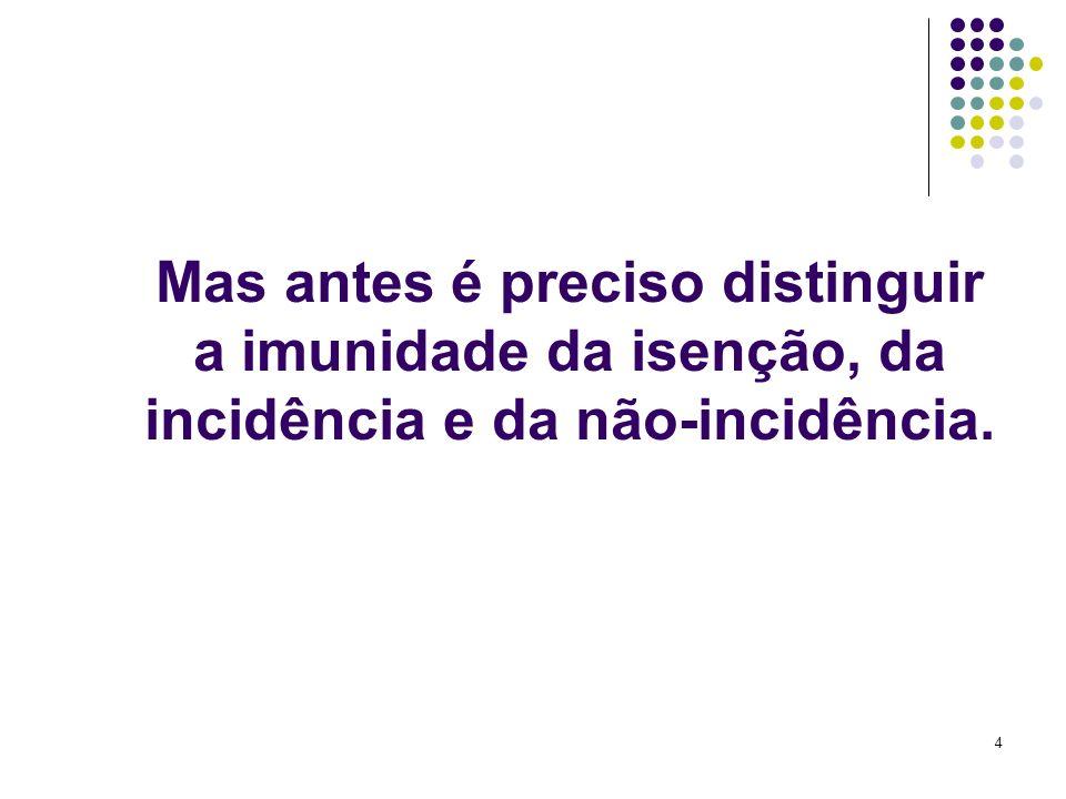 4 Mas antes é preciso distinguir a imunidade da isenção, da incidência e da não-incidência.
