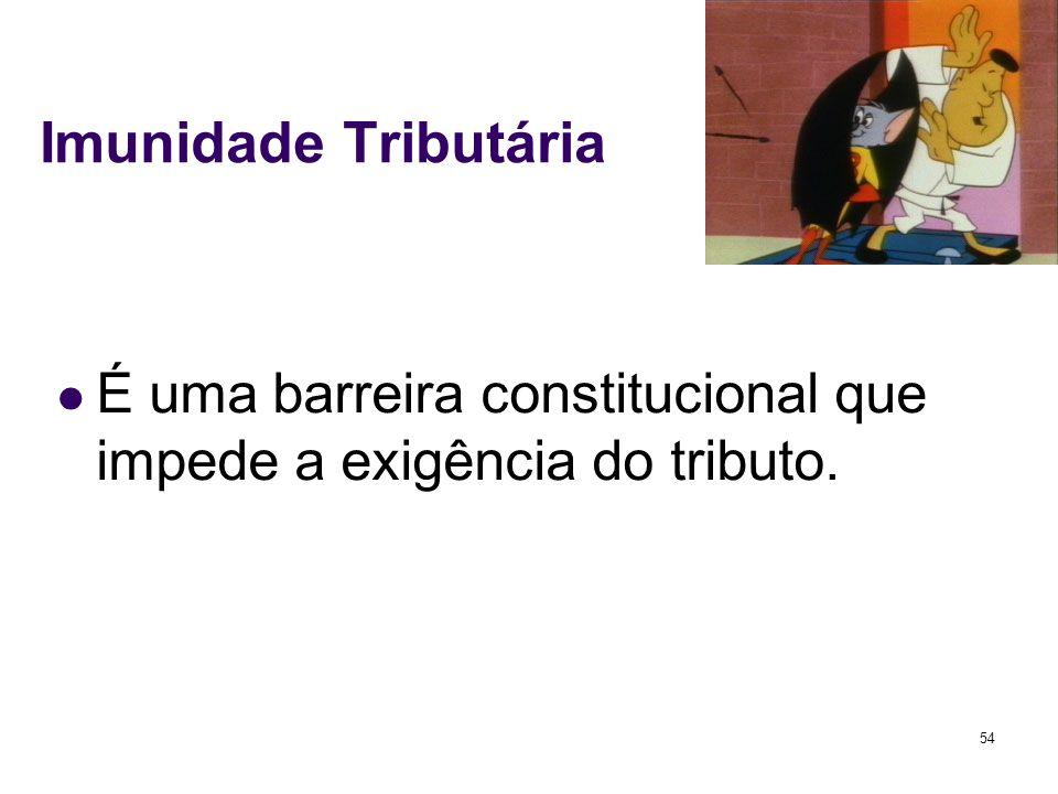 54 Imunidade Tributária É uma barreira constitucional que impede a exigência do tributo.