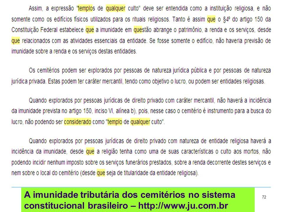 72 A imunidade tributária dos cemitérios no sistema constitucional brasileiro – http://www.ju.com.br
