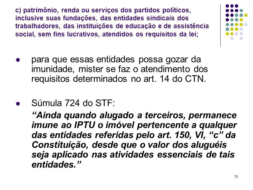 76 c) patrimônio, renda ou serviços dos partidos políticos, inclusive suas fundações, das entidades sindicais dos trabalhadores, das instituições de e