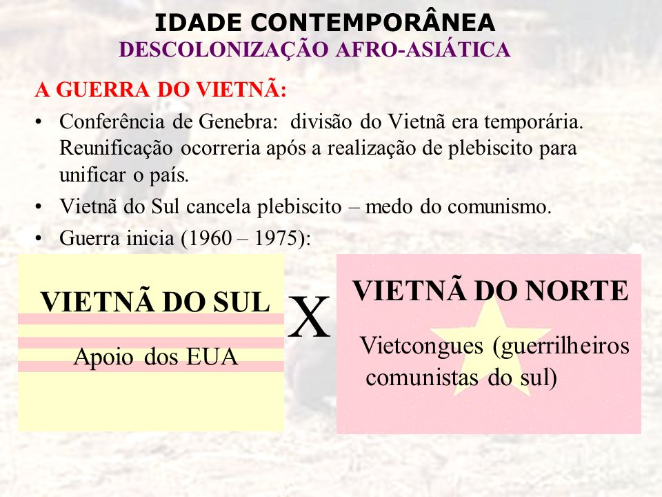 IDADE CONTEMPORÂNEA DESCOLONIZAÇÃO AFRO-ASIÁTICA A GUERRA DO VIETNÃ: Conferência de Genebra: divisão do Vietnã era temporária. Reunificação ocorreria
