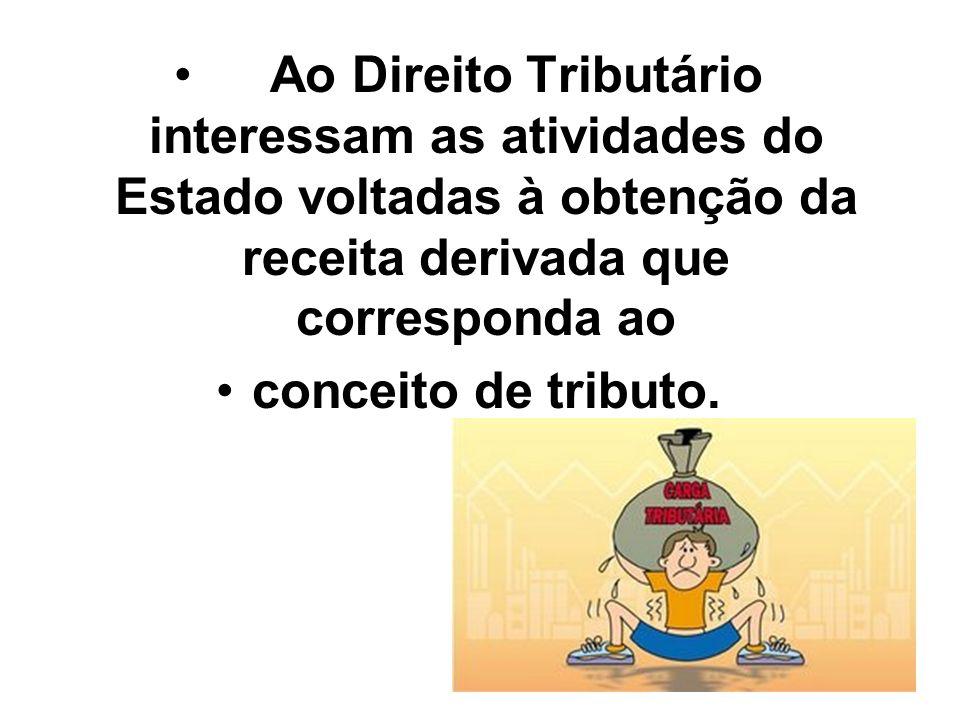 45 Ao Direito Tributário interessam as atividades do Estado voltadas à obtenção da receita derivada que corresponda ao conceito de tributo.