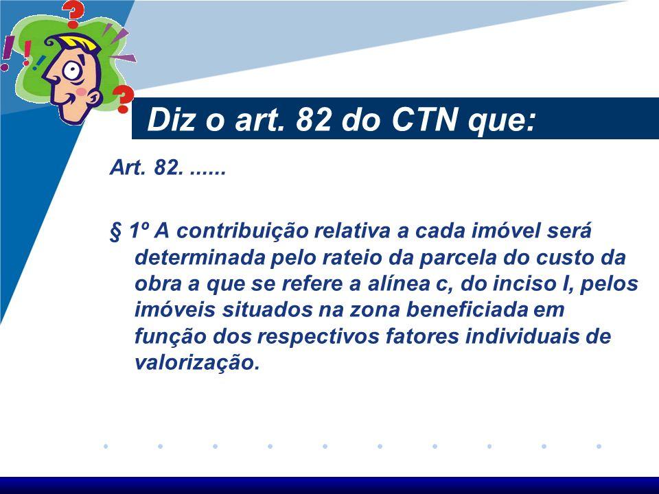 Diz o art. 82 do CTN que: Art. 82....... § 1º A contribuição relativa a cada imóvel será determinada pelo rateio da parcela do custo da obra a que se