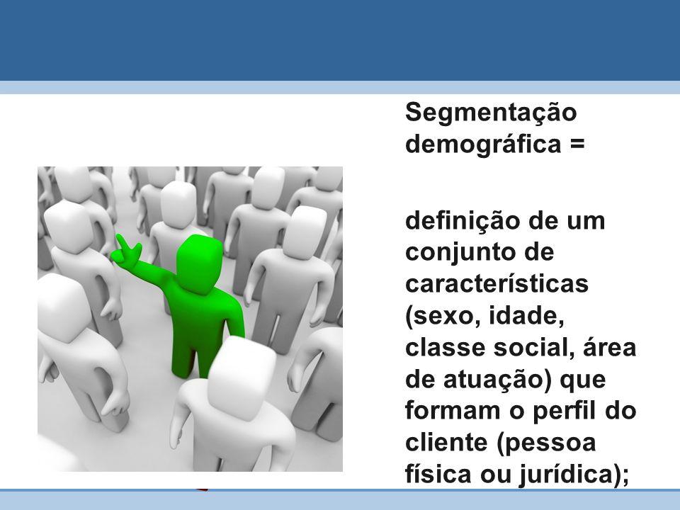 Segmentação demográfica = definição de um conjunto de características (sexo, idade, classe social, área de atuação) que formam o perfil do cliente (pe