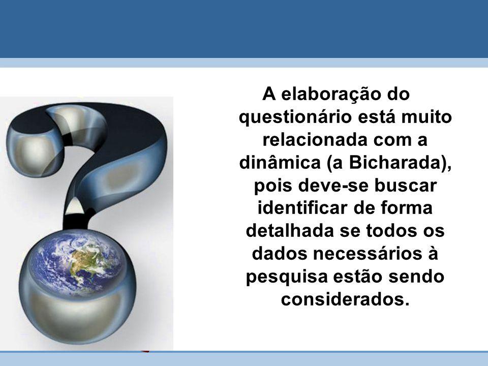 A elaboração do questionário está muito relacionada com a dinâmica (a Bicharada), pois deve-se buscar identificar de forma detalhada se todos os dados