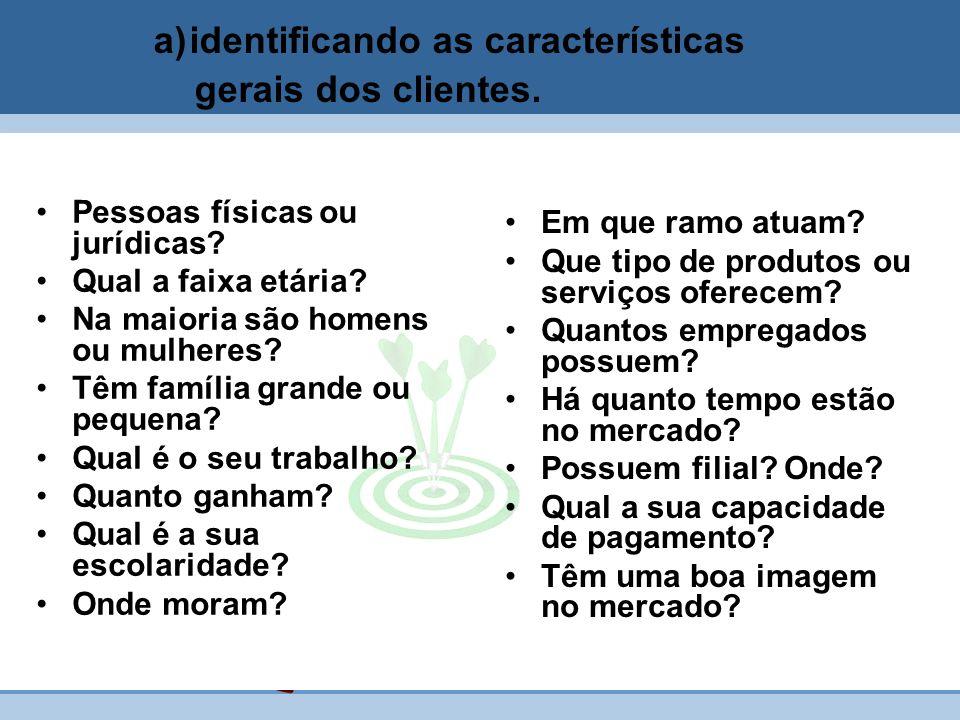 a)identificando as características gerais dos clientes. Pessoas físicas ou jurídicas? Qual a faixa etária? Na maioria são homens ou mulheres? Têm famí