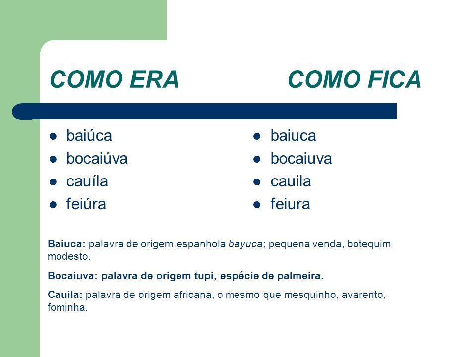 COMO ERACOMO FICA baiúca bocaiúva cauíla feiúra baiuca bocaiuva cauila feiura Baiuca: palavra de origem espanhola bayuca; pequena venda, botequim modesto.