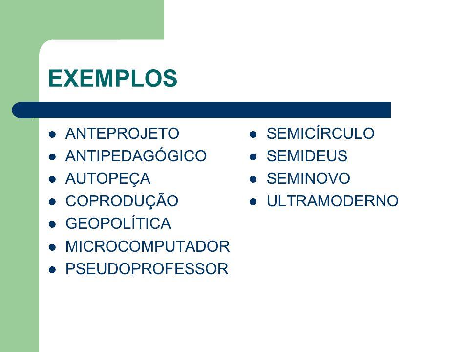 EXEMPLOS ANTEPROJETO ANTIPEDAGÓGICO AUTOPEÇA COPRODUÇÃO GEOPOLÍTICA MICROCOMPUTADOR PSEUDOPROFESSOR SEMICÍRCULO SEMIDEUS SEMINOVO ULTRAMODERNO