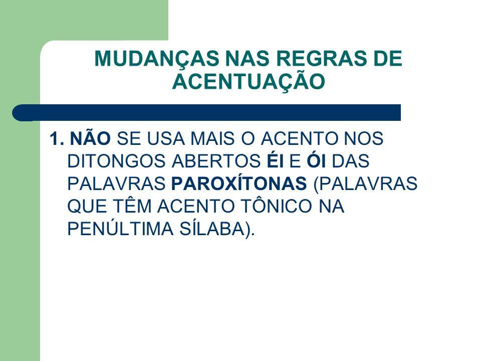 COMO ERA COMO FICA ALCALÓIDE ALCATÉIA ANDRÓIDE APÓIA (VERBO APOIAR) APÓIO (VERBO APOIAR) ASTERÓIDE ALCALOIDE ALCATEIA ANDROIDE APOIA APOIO ASTEROIDE