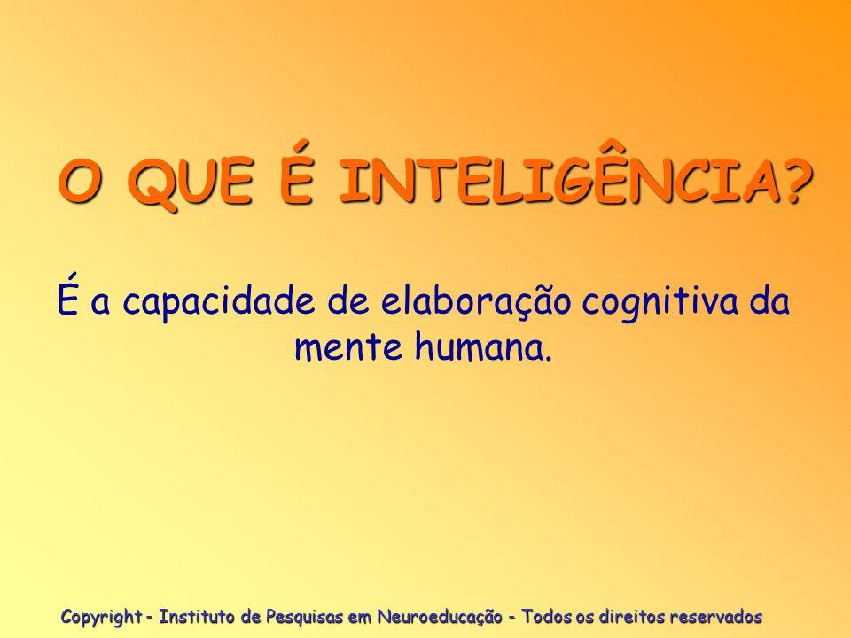 Copyright - Instituto de Pesquisas em Neuroeducação - Todos os direitos reservados É a capacidade de elaboração cognitiva da mente humana. O QUE É INT
