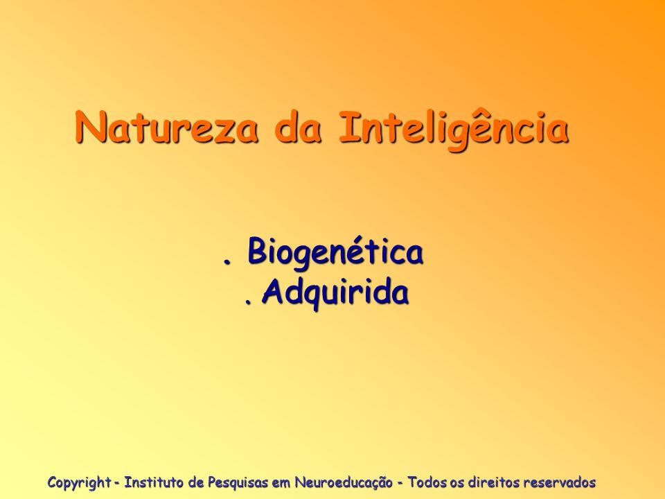 Copyright - Instituto de Pesquisas em Neuroeducação - Todos os direitos reservados Natureza da Inteligência. Biogenética. Adquirida Natureza da Inteli