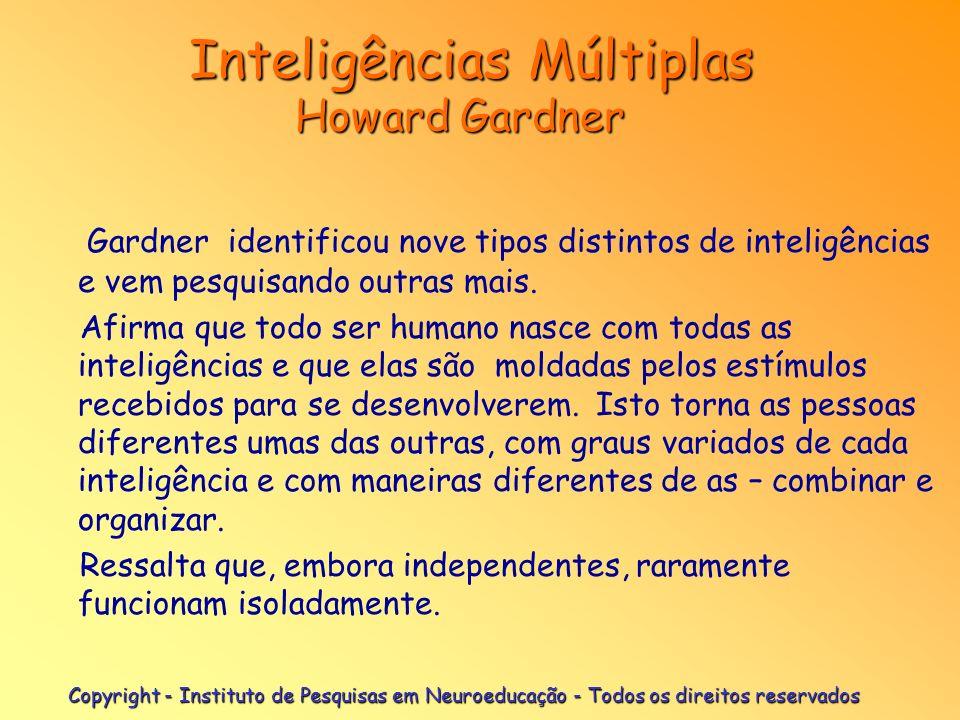 Copyright - Instituto de Pesquisas em Neuroeducação - Todos os direitos reservados Inteligências Múltiplas Howard Gardner Inteligências Múltiplas Howa