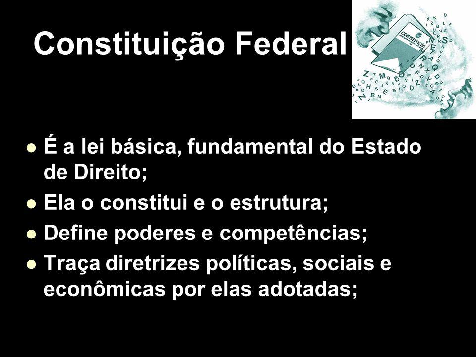 X Xx X x É a lei básica, fundamental do Estado de Direito; Ela o constitui e o estrutura; Define poderes e competências; Traça diretrizes políticas, s