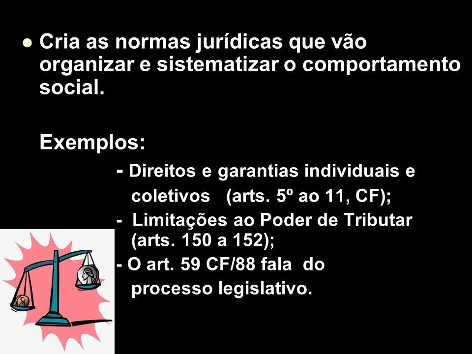 X Xx X x Cria as normas jurídicas que vão organizar e sistematizar o comportamento social. Exemplos: - Direitos e garantias individuais e coletivos (a