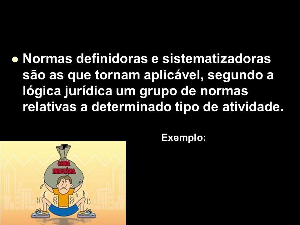 X Xx X x Normas definidoras e sistematizadoras são as que tornam aplicável, segundo a lógica jurídica um grupo de normas relativas a determinado tipo