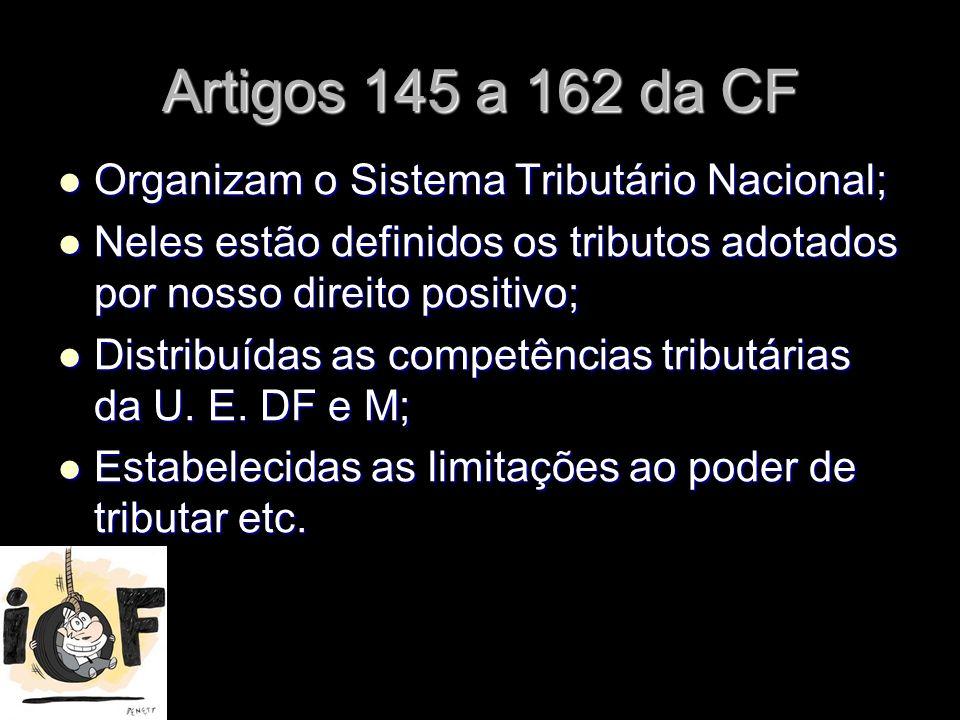 X Xx X x Artigos 145 a 162 da CF Organizam o Sistema Tributário Nacional; Organizam o Sistema Tributário Nacional; Neles estão definidos os tributos a