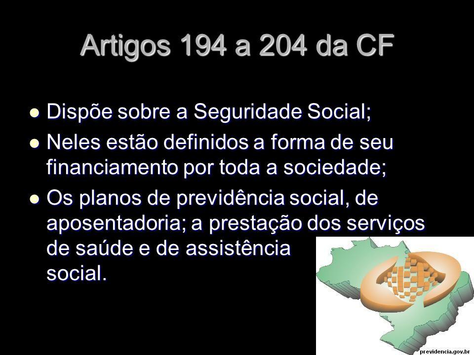 X Xx X x Artigos 194 a 204 da CF Dispõe sobre a Seguridade Social; Dispõe sobre a Seguridade Social; Neles estão definidos a forma de seu financiament
