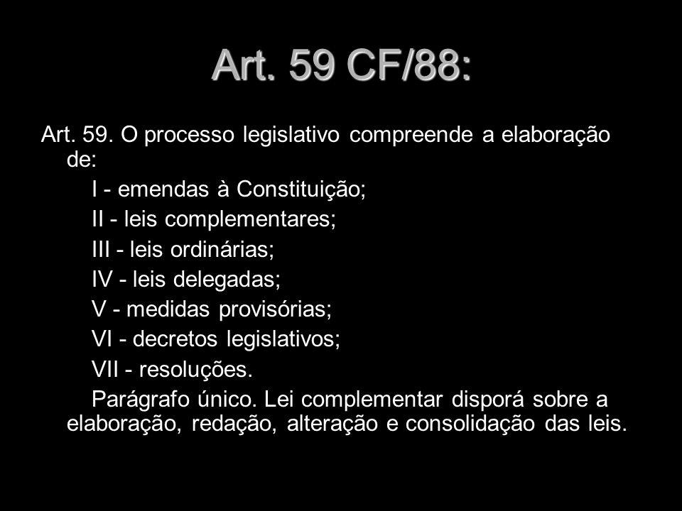 X Xx X x Art. 59 CF/88: Art. 59. O processo legislativo compreende a elaboração de: I - emendas à Constituição; II - leis complementares; III - leis o