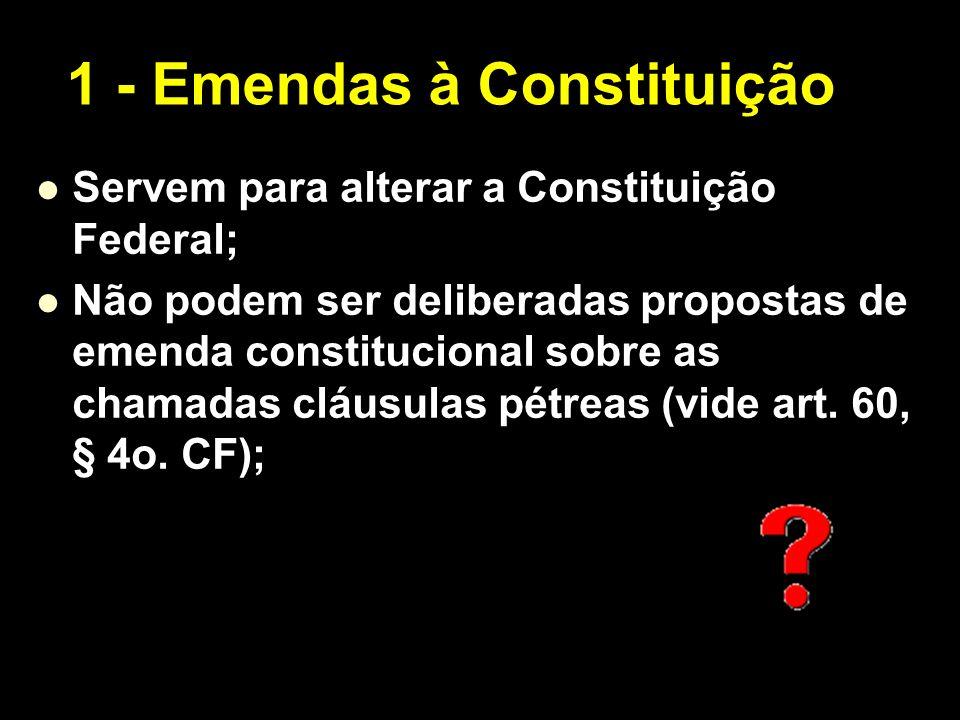 X Xx X x Servem para alterar a Constituição Federal; Não podem ser deliberadas propostas de emenda constitucional sobre as chamadas cláusulas pétreas