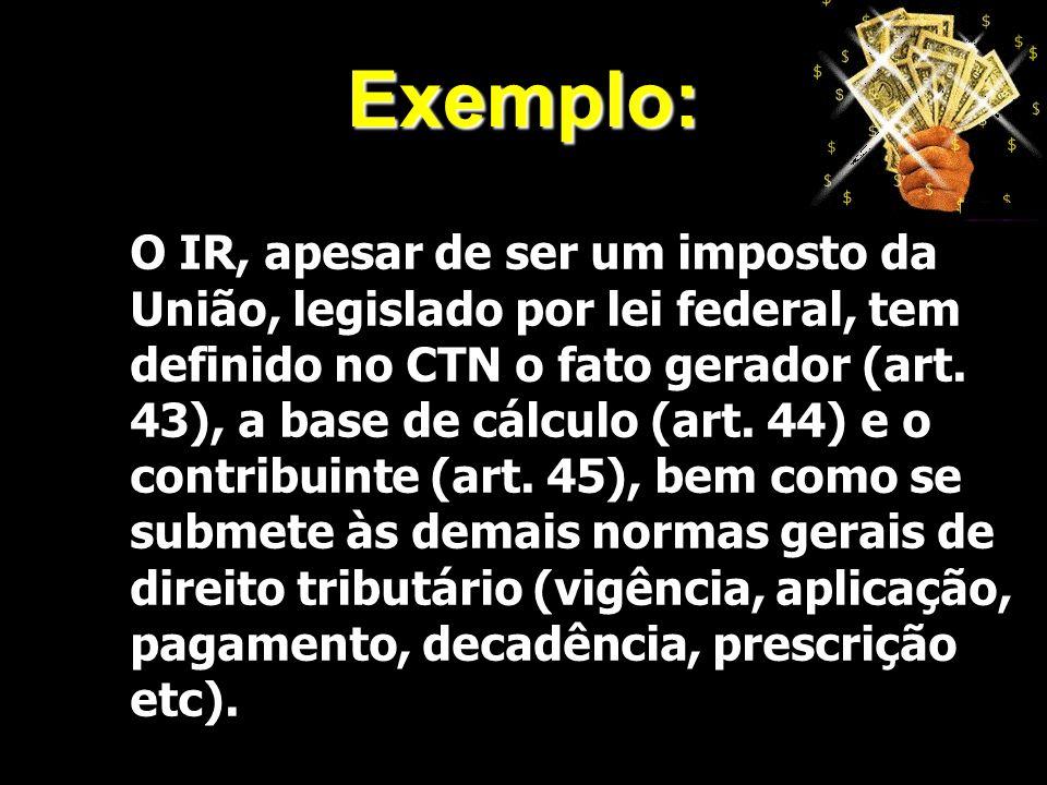 X Xx X x Exemplo: O IR, apesar de ser um imposto da União, legislado por lei federal, tem definido no CTN o fato gerador (art. 43), a base de cálculo