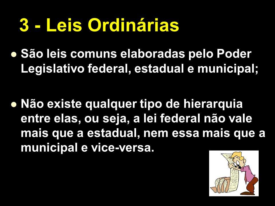 X Xx X x São leis comuns elaboradas pelo Poder Legislativo federal, estadual e municipal; Não existe qualquer tipo de hierarquia entre elas, ou seja,