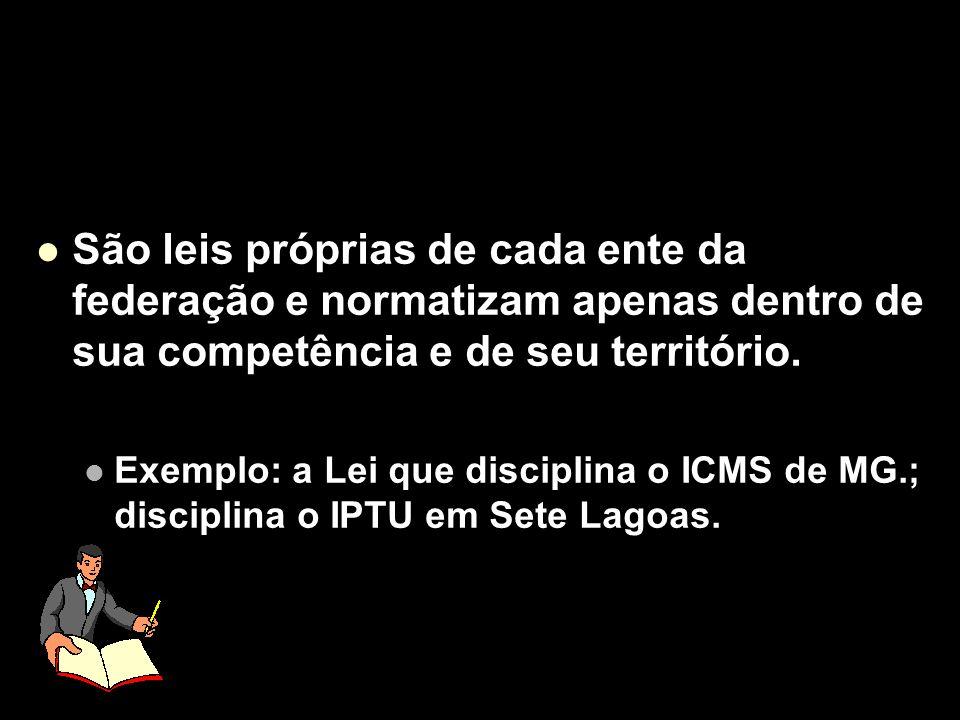 X Xx X x São leis próprias de cada ente da federação e normatizam apenas dentro de sua competência e de seu território. Exemplo: a Lei que disciplina