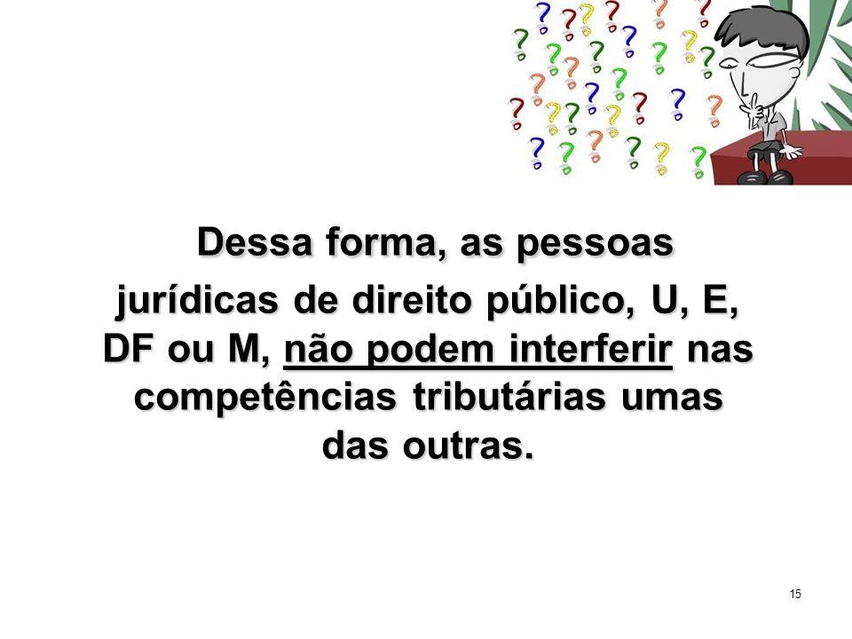 15 Dessa forma, as pessoas jurídicas de direito público, U, E, DF ou M, não podem interferir nas competências tributárias umas das outras. Dessa forma