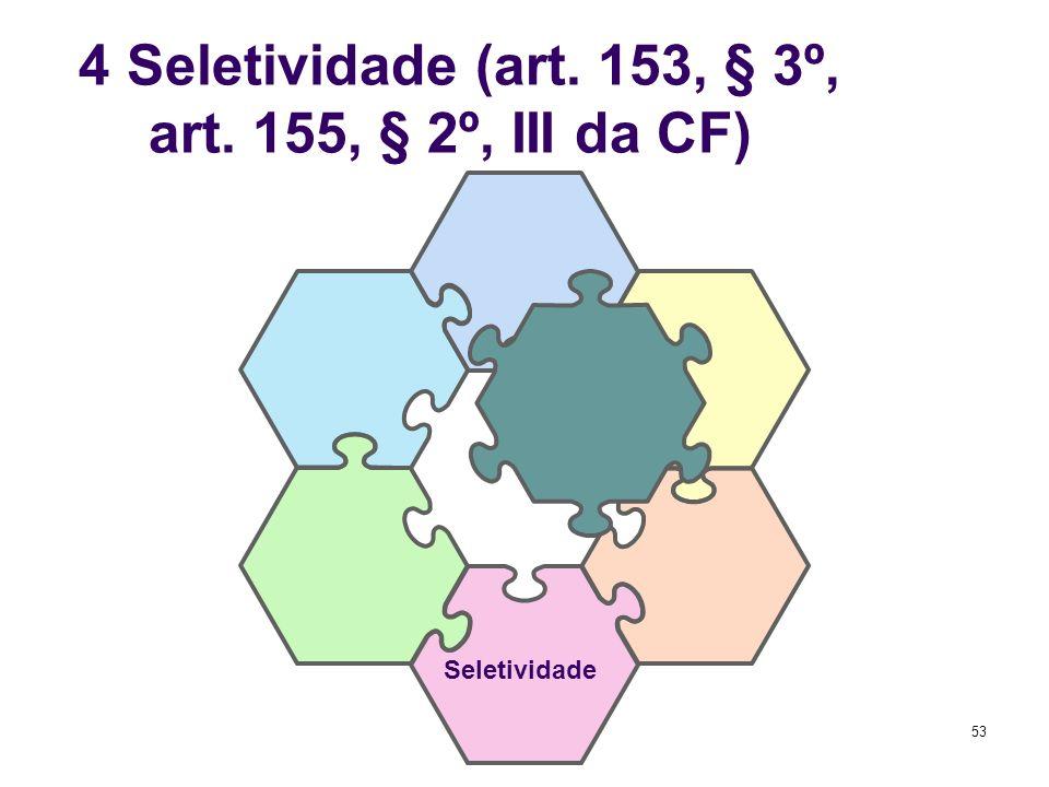 53 4 Seletividade (art. 153, § 3º, I; art. 155, § 2º, III da CF) Seletividade