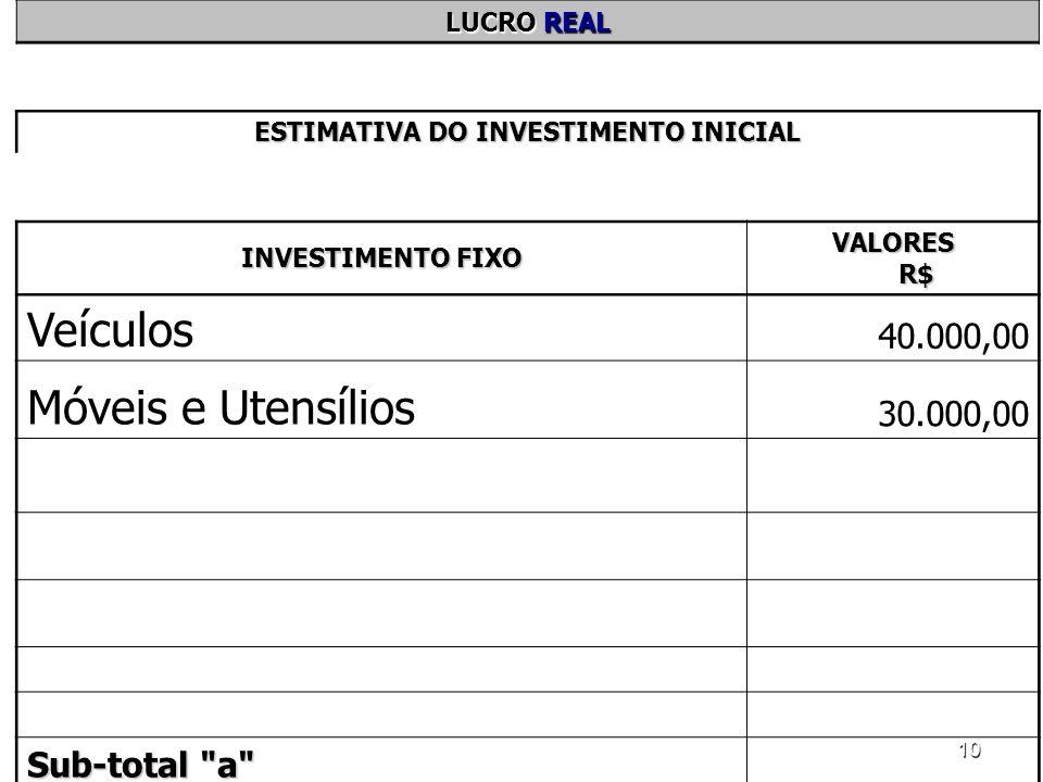 10 LUCRO REAL ESTIMATIVA DO INVESTIMENTO INICIAL INVESTIMENTO FIXO VALORES R$ Veículos 40.000,00 Móveis e Utensílios 30.000,00 Sub-total
