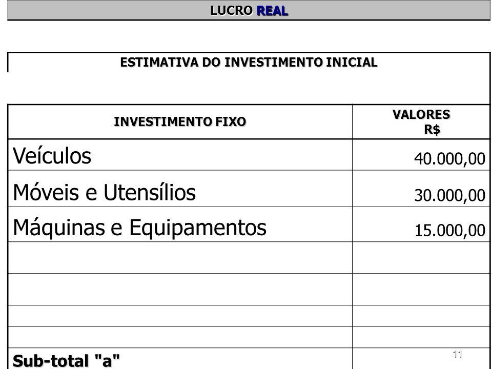 11 LUCRO REAL ESTIMATIVA DO INVESTIMENTO INICIAL INVESTIMENTO FIXO VALORES R$ Veículos 40.000,00 Móveis e Utensílios 30.000,00 Máquinas e Equipamentos