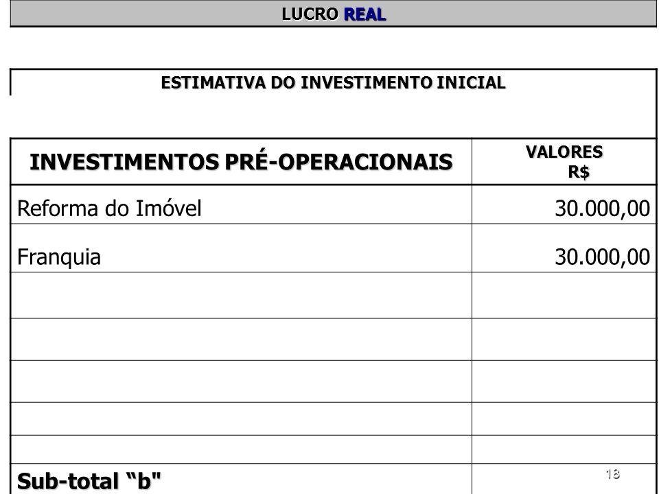 18 LUCRO REAL ESTIMATIVA DO INVESTIMENTO INICIAL INVESTIMENTOS PRÉ-OPERACIONAIS VALORES R$ Reforma do Imóvel30.000,00 Franquia30.000,00 Sub-total b