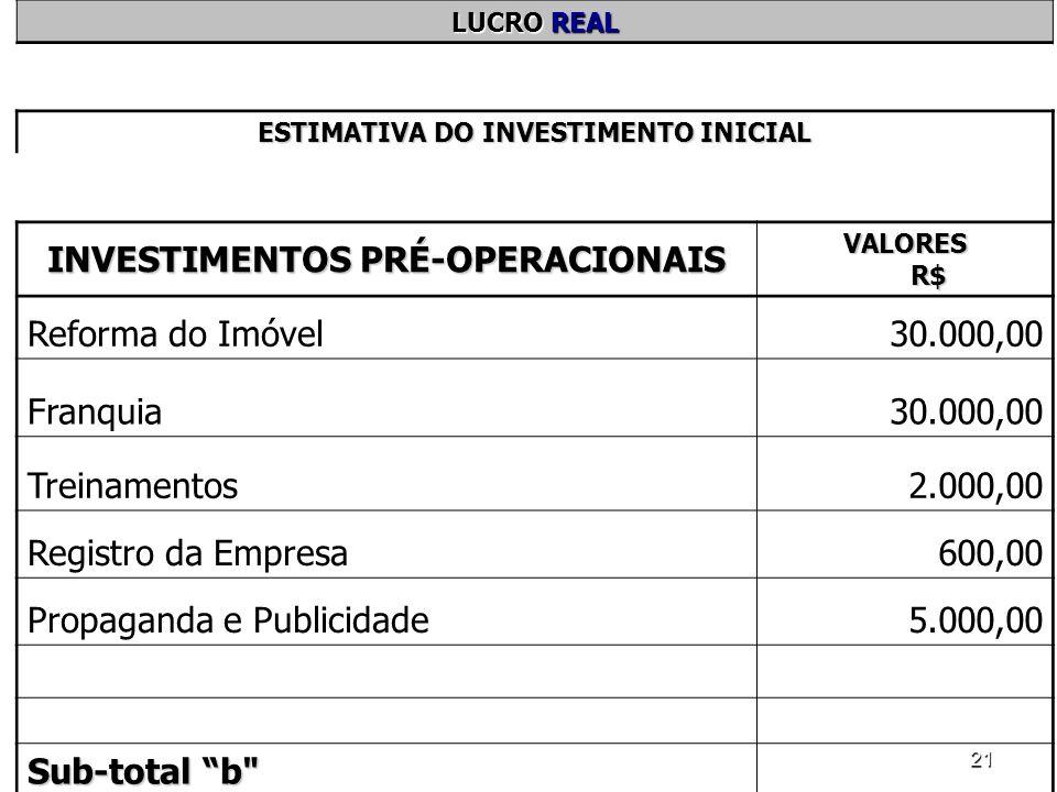 21 LUCRO REAL ESTIMATIVA DO INVESTIMENTO INICIAL INVESTIMENTOS PRÉ-OPERACIONAIS VALORES R$ Reforma do Imóvel30.000,00 Franquia30.000,00 Treinamentos2.