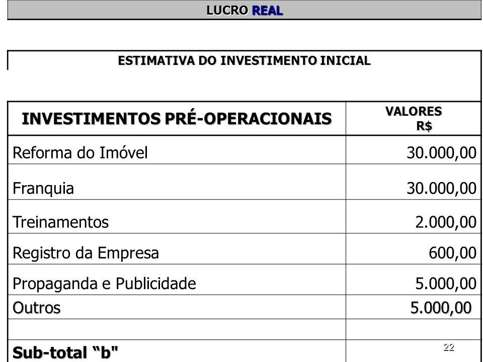 22 LUCRO REAL ESTIMATIVA DO INVESTIMENTO INICIAL INVESTIMENTOS PRÉ-OPERACIONAIS VALORES R$ Reforma do Imóvel30.000,00 Franquia30.000,00 Treinamentos2.
