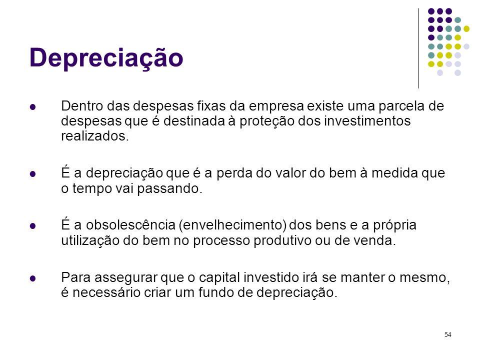 54 Depreciação Dentro das despesas fixas da empresa existe uma parcela de despesas que é destinada à proteção dos investimentos realizados. É a deprec