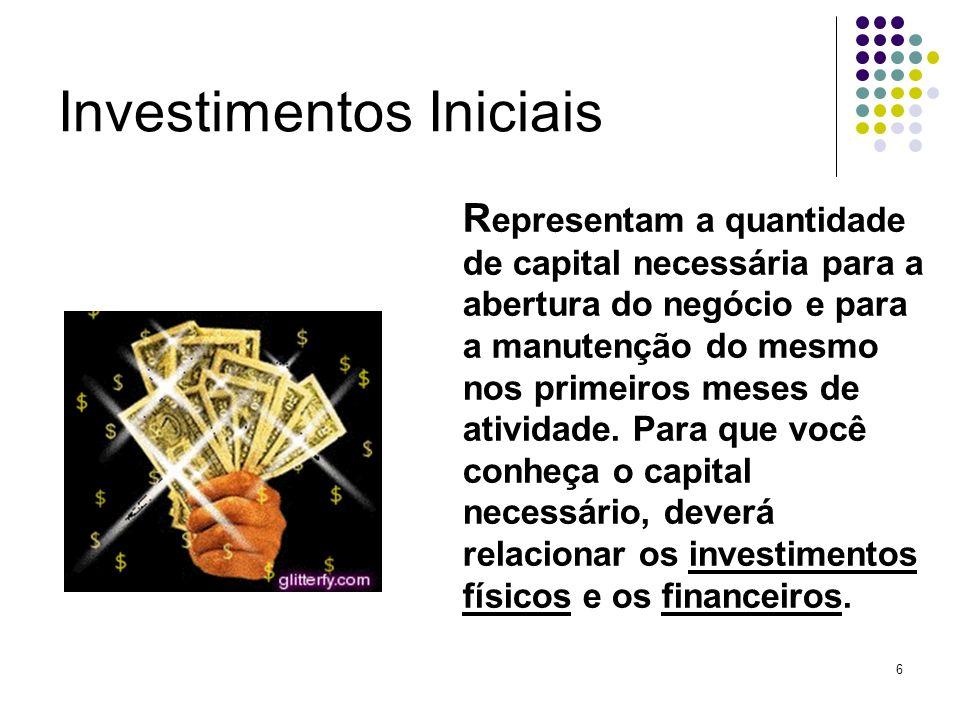 6 Investimentos Iniciais R epresentam a quantidade de capital necessária para a abertura do negócio e para a manutenção do mesmo nos primeiros meses d