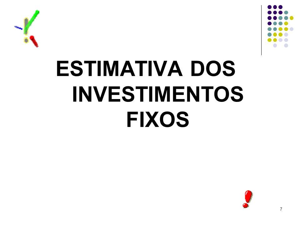 7 ESTIMATIVA DOS INVESTIMENTOS FIXOS