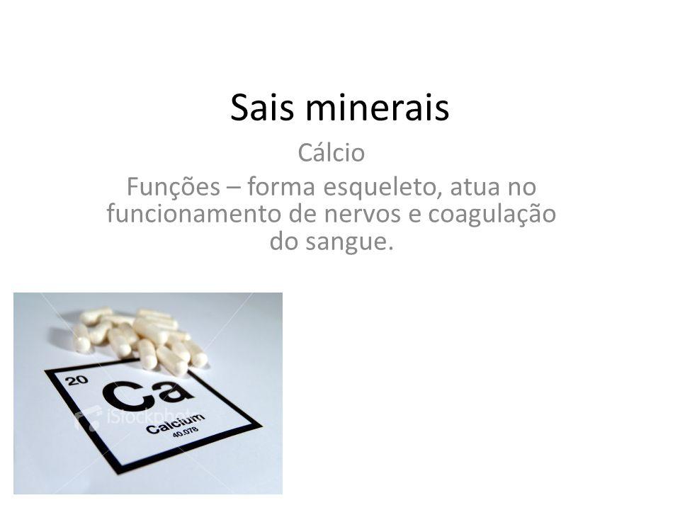 Sais minerais Cálcio Funções – forma esqueleto, atua no funcionamento de nervos e coagulação do sangue.