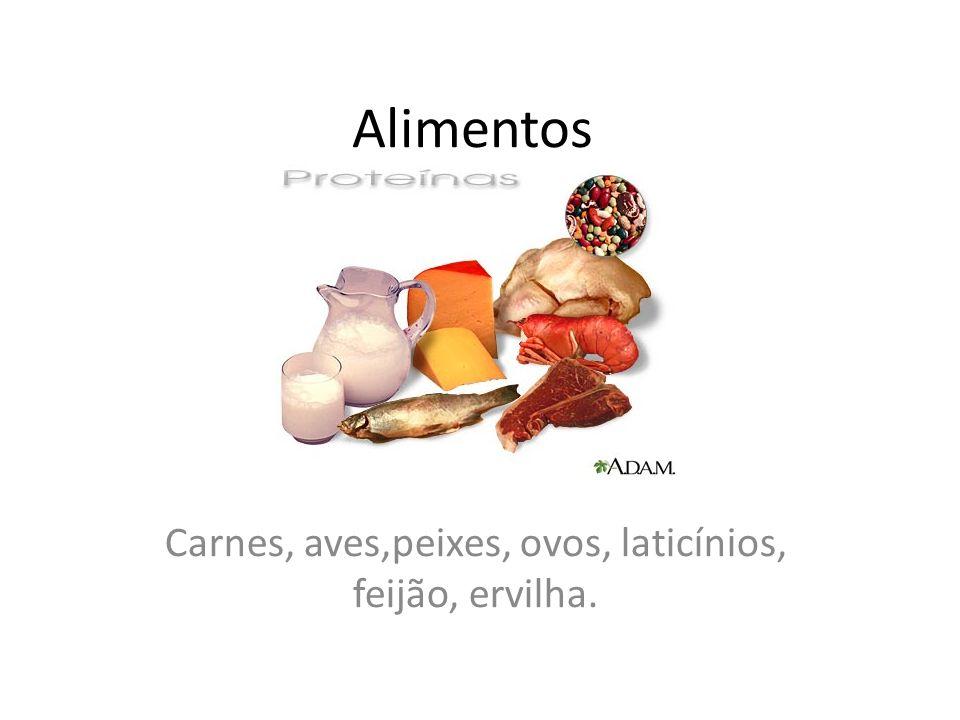 Alimentos Carnes, aves,peixes, ovos, laticínios, feijão, ervilha.