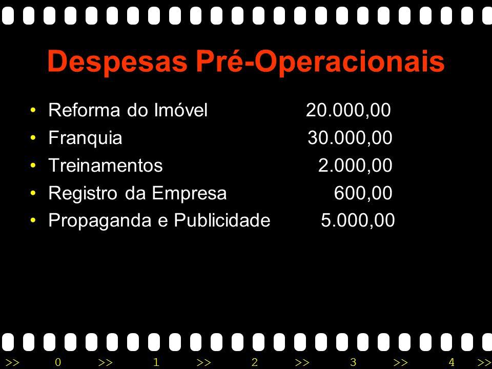 >>0 >>1 >> 2 >> 3 >> 4 >> Despesas Pré-Operacionais Reforma do Imóvel 20.000,00 Franquia 30.000,00 Treinamentos 2.000,00 Registro da Empresa 600,00