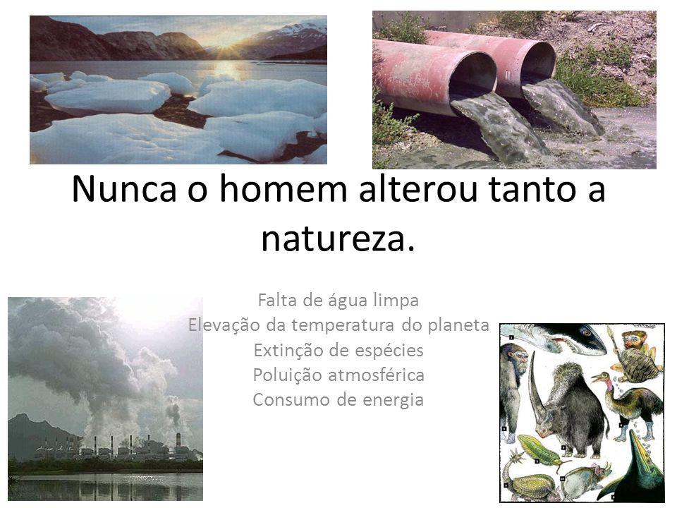 Nunca o homem alterou tanto a natureza. Falta de água limpa Elevação da temperatura do planeta Extinção de espécies Poluição atmosférica Consumo de en