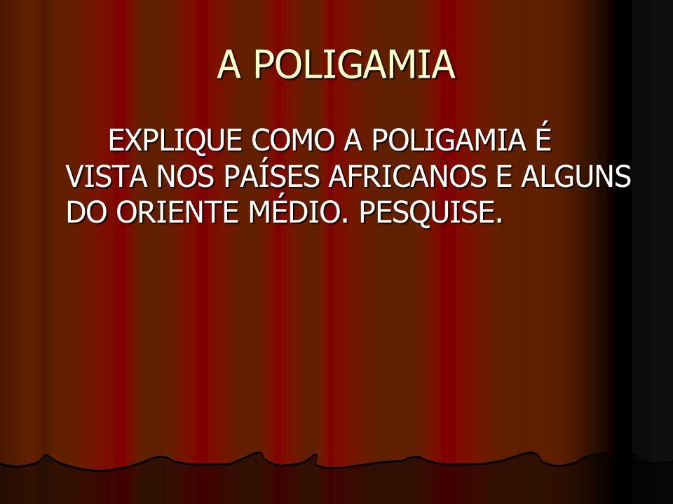 A POLIGAMIA EXPLIQUE COMO A POLIGAMIA É VISTA NOS PAÍSES AFRICANOS E ALGUNS DO ORIENTE MÉDIO. PESQUISE.