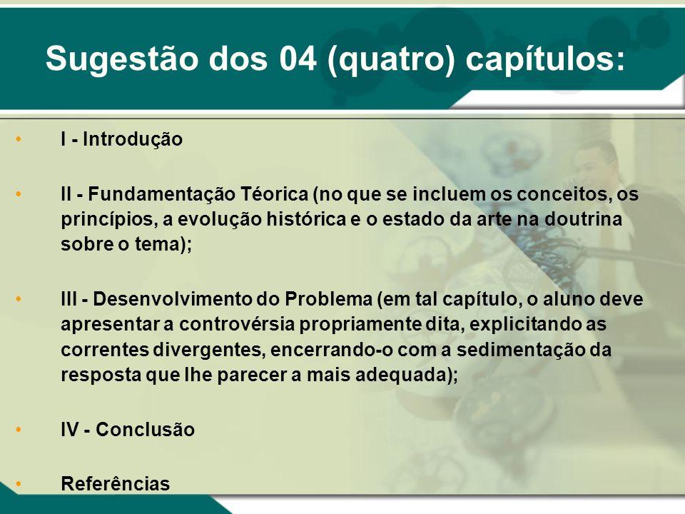 I - Introdução II - Fundamentação Téorica (no que se incluem os conceitos, os princípios, a evolução histórica e o estado da arte na doutrina sobre o