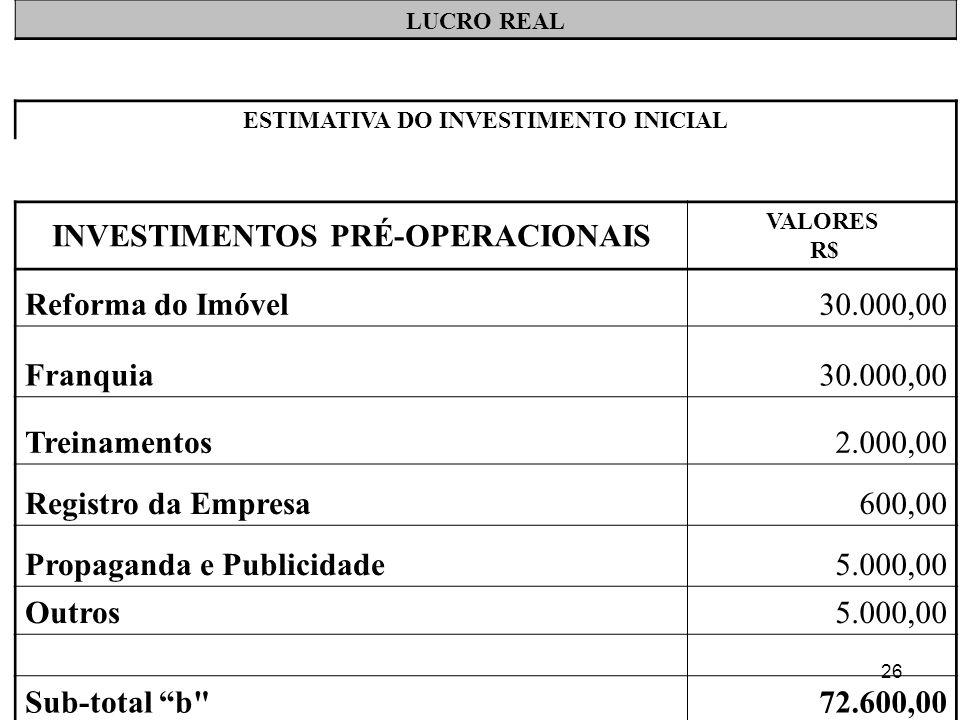 26 LUCRO REAL ESTIMATIVA DO INVESTIMENTO INICIAL INVESTIMENTOS PRÉ-OPERACIONAIS VALORES R$ Reforma do Imóvel30.000,00 Franquia30.000,00 Treinamentos2.