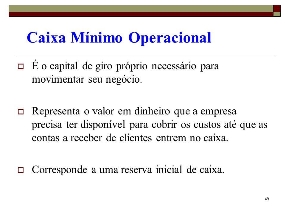 49 Caixa Mínimo Operacional É o capital de giro próprio necessário para movimentar seu negócio. Representa o valor em dinheiro que a empresa precisa t
